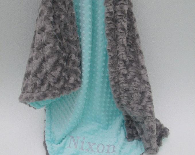 Robin's Egg Blue and Gray Minky Baby Blanket, Charcoal Gray and Aqua Minky baby Blanket,