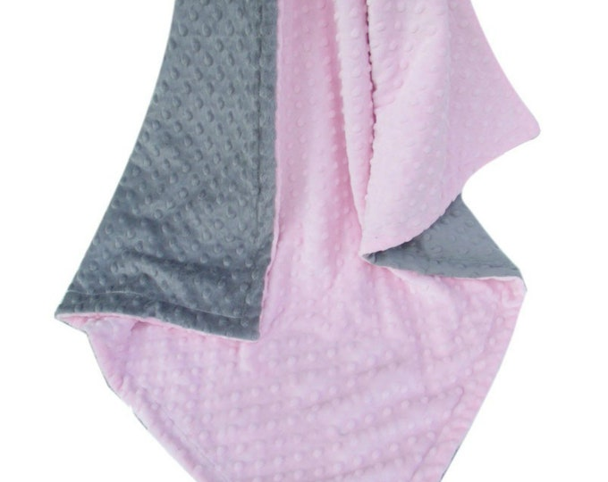 Light Pink and Gray Minky Dot Baby Blanket - Pink and Gray Minky Dot Blanket