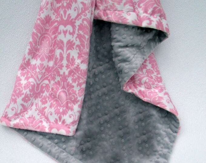 Pink Damask and Silver Gray Minky Baby Blanket