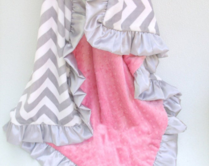 Coral Minky Dot and Gray Chevron Blanket - Sized from Baby to Adult