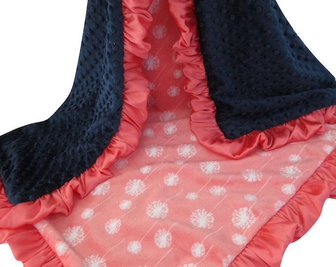 Coral Dandelion and Navy Minky Baby Blanket, for baby girl, toddler, or teen, Baby Girl Blanket