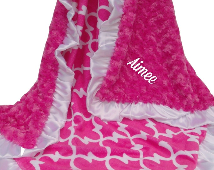 Fuchsia Hot Pink Swirl and Quatrefoil Print Minky Baby Blanket, Modern Geometric Girls Blanket in Pink and White, personalized, three sizes