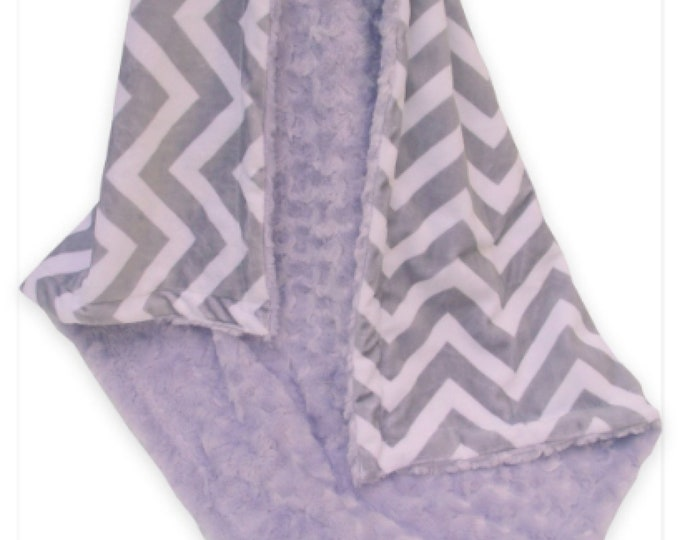 Lavender Minky Swirl and Gray Chevron Minky Baby Blanket, Lavender and Gray Baby Blanket