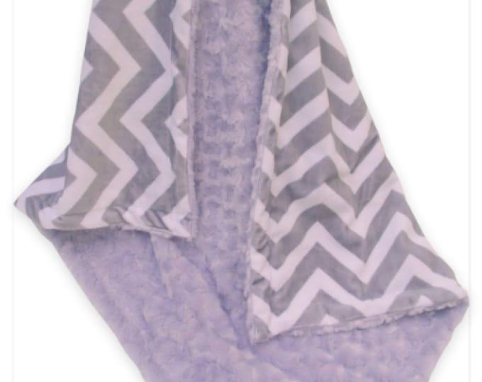 Lavender Minky Swirl and Gray Chevron Minky Baby Blanket, Lavender and Gray Baby Blanket, Baby Girl Blanket