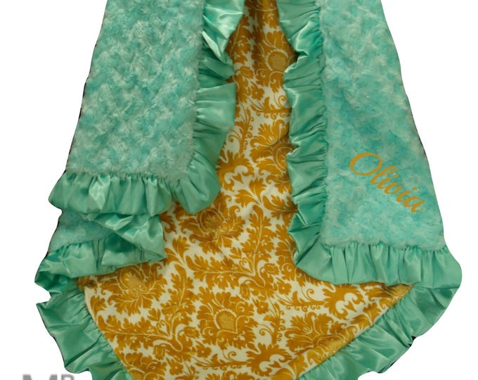 Saltwater Swirl and Gold Damask Minky Baby Blanket, Mustard Yellow Minky Swaddle Blanket