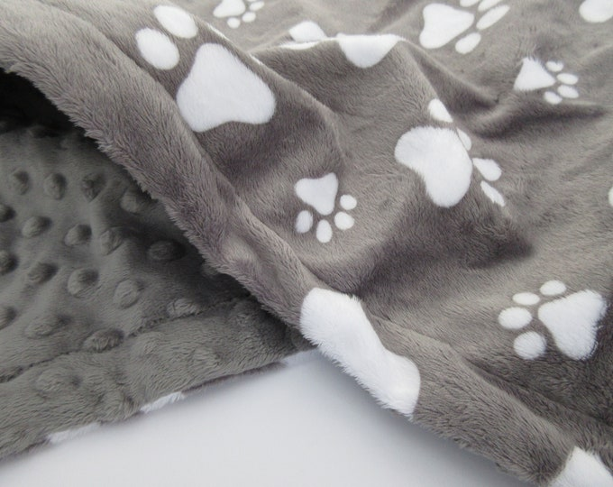 Charcoal Gray Paw Print Dog Blanket, New Puppy Gift, In Stock Ready to Ship