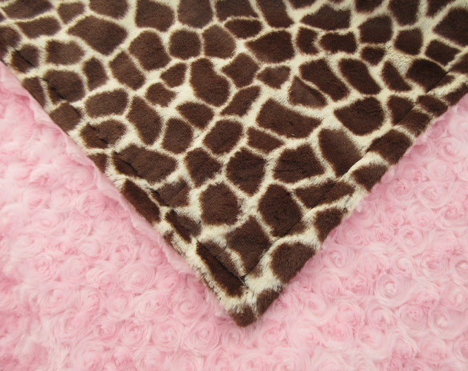 Pink Rose Swirl Brown Giraffe Minky Baby Blanket, Jungle Theme Nursery Baby Blanket, Ready to Ship, In Stock