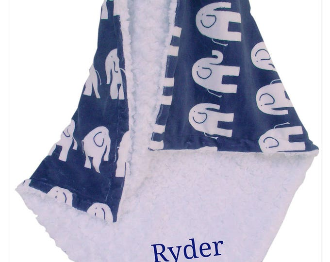 No Personalization, Navy Elephant Minky Baby Blanket, Woodland Animals Jungle Baby Blanket, Elephant Print Blanket