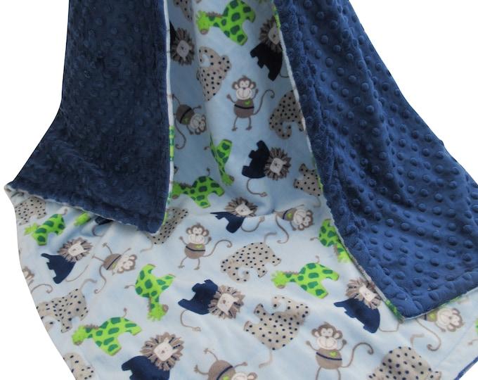Elephant Baby Blanket, Elephant Baby Blanket, Blue Gray Baby Blanket