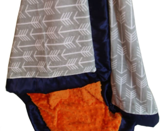 Orange and Silver Gray Arrow Minky Baby Blanket, Orange and Gray Minky Baby Blanket, Crib Blanket, Baby Blanket, or Lovey, Choose Your Size