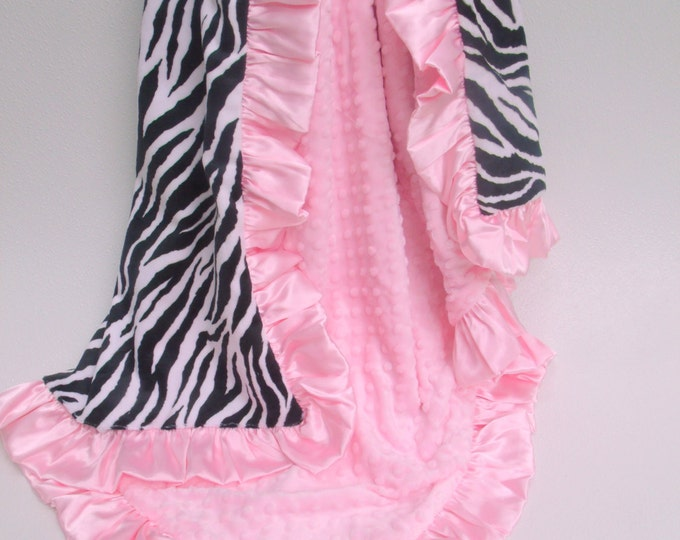 Minky Baby Blanket - Pink and Black Zebra Baby Blanket - Black and White Zebra Blanket
