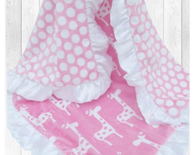 35 X 55  White and Pink Polka Dot Giraffe Minky Baby Blanket,
