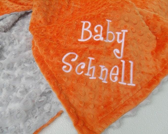 Gray and Orange minky baby Blanket for boy, three sizes