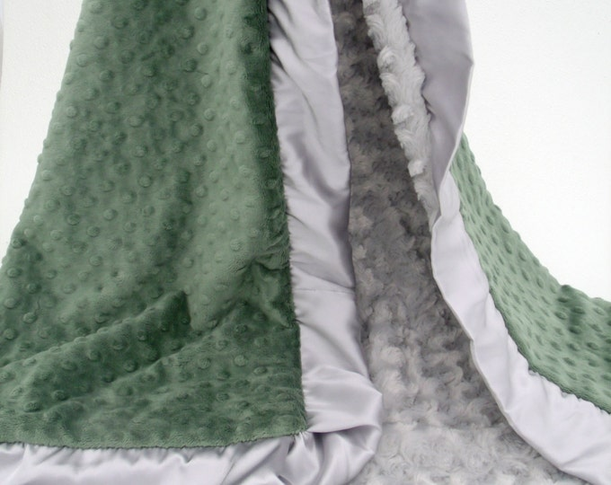 Hunter Olive Green and Silver Gray Satin Ruffled Minky Blanket