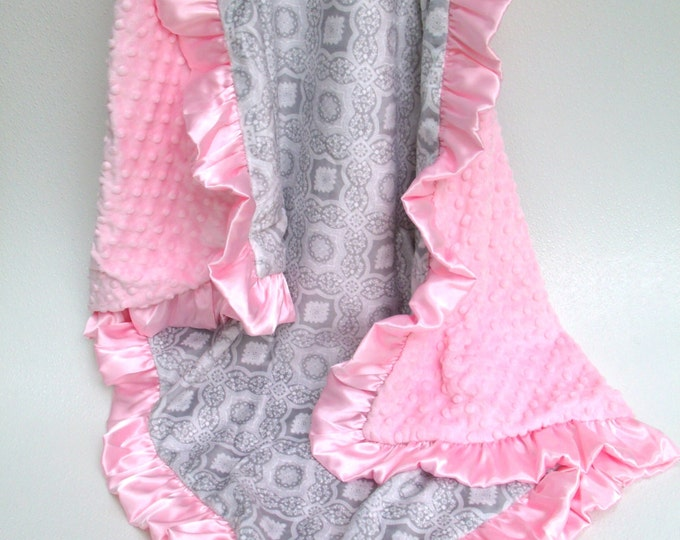 Gray and Pink Minky Dot Baby Blanket