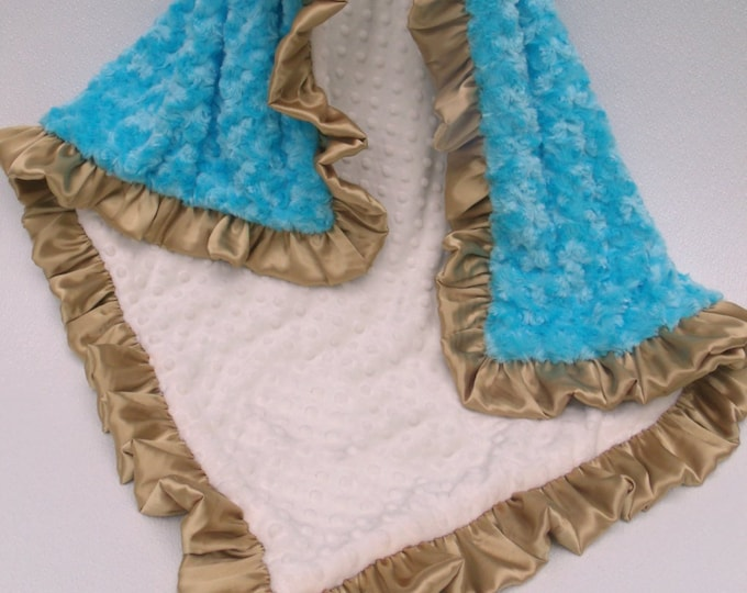 Baby Wrap, Turquoise Aqua and Gold Minky Baby Blanket, Aqua Minky Baby Wrap, Turquoise Minky Baby Wrap