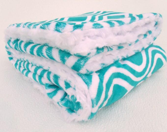 Geometric Teal Minky Baby Blanket, Aqua Turquoise Baby Blanket
