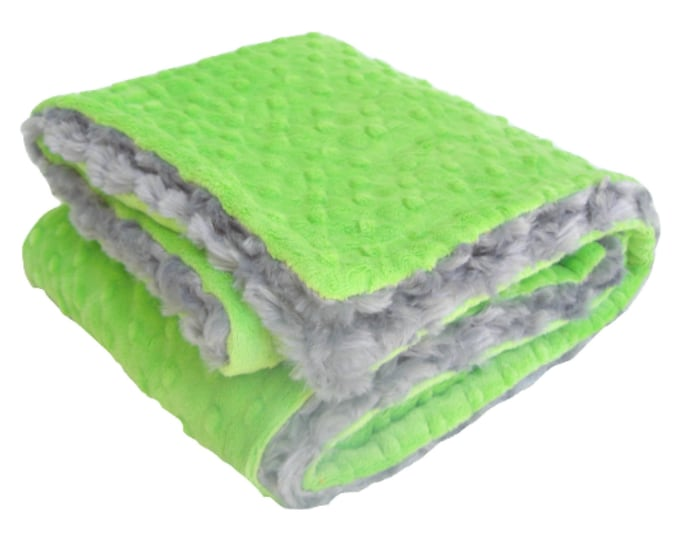 Gray and Lime Green Minky Blanket for Baby Boy, three sizes