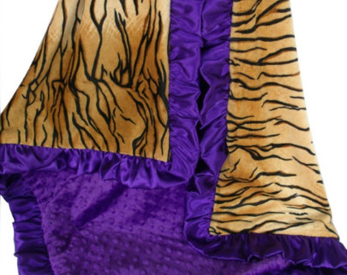 Purple Tiger and Gold Minky Baby Blanket, 3 Sizes