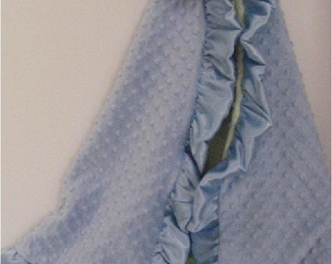 Blue Dot and Sage Dot Minky Baby Blanket