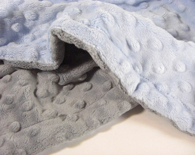 Blue and gray Minky Baby Blanket - for baby boy