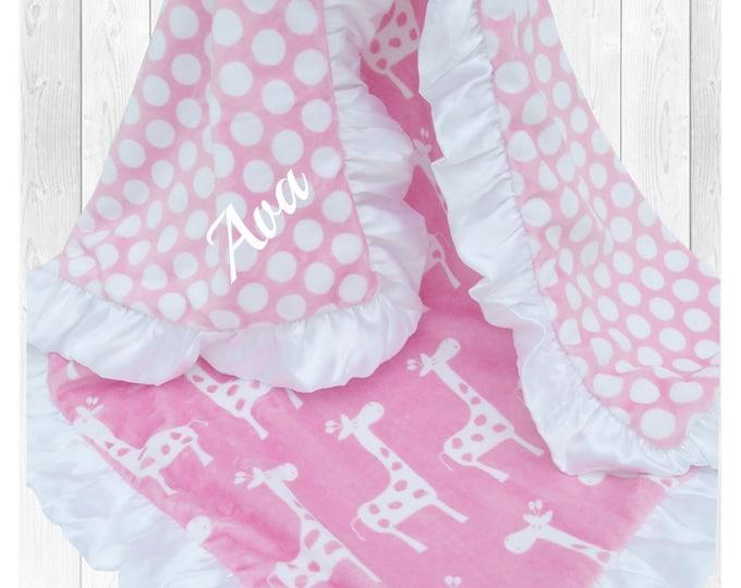 White and Pink Polka Dot Giraffe Minky Baby Blanket, Pink White Mod Dot Giraffe Blanket, Pink Giraffe Pink and White Blanket