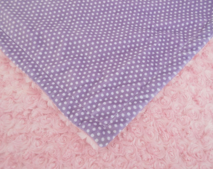 Minky Baby Blanket in Lavender and White Swiss Dot With Pink Rose Swirl