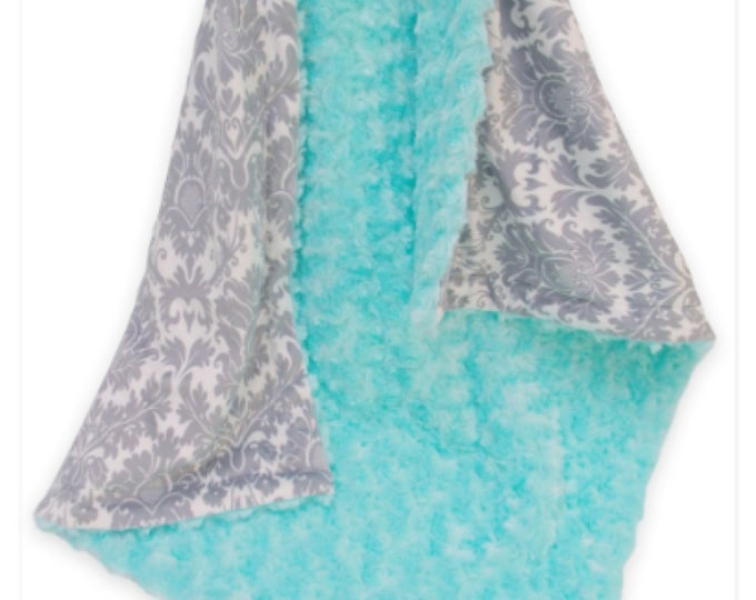 Robin's Egg Blue and Gray Damask Minky Baby Blanket, Light Turquoise Minky Baby Blanket,