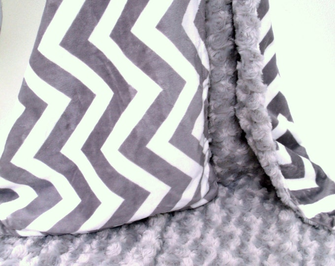 Minky Baby Blanket in Gray Chevron with Silver Minky Rose Swirl