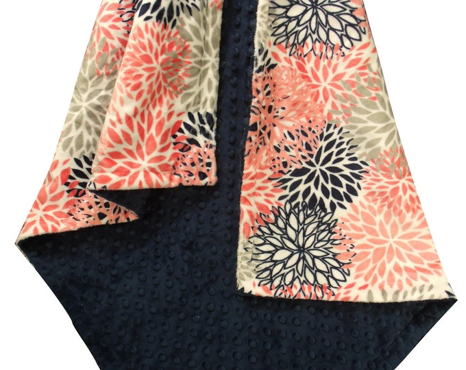 Coral and Navy Floral Minky Baby Girl Blanket