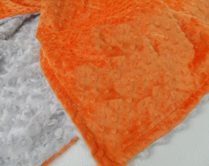 Gray and Orange minky baby Blanket for boy, three sizes