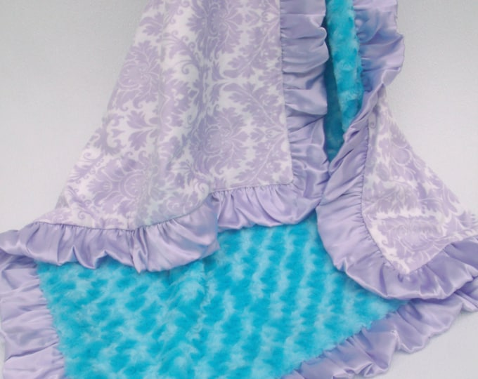 Lavender Damask and Aqua Rose Swirl Minky Baby Blanket