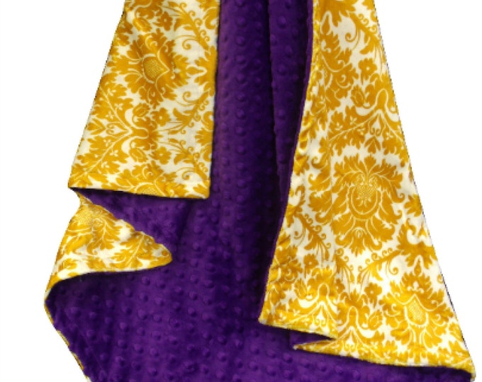 Purple Gold Fleur de Lis Minky Dot Baby Blanket
