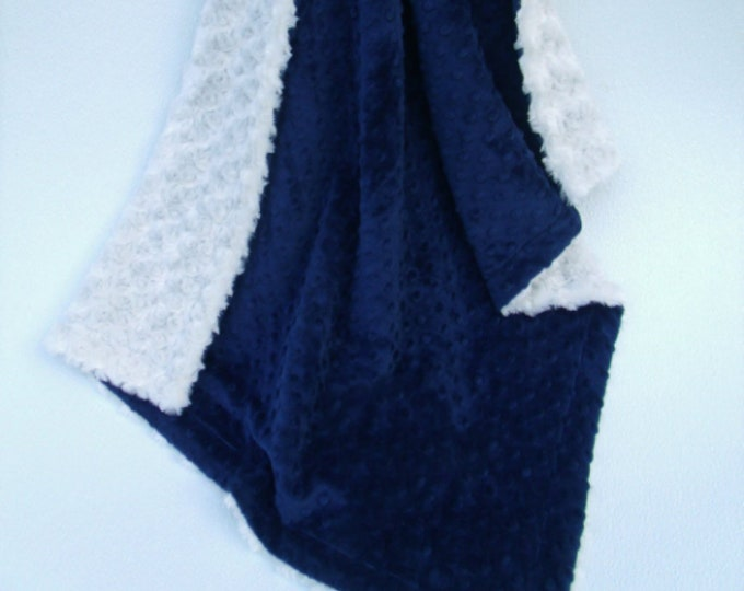 Cream Rosebud Swirl and Navy Dot Minky Blanket, Navy and Ivory Baby Blanket, Cream Navy Minky Baby Blanket