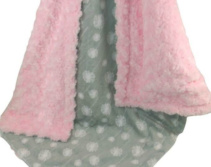 Light Pink Rose Swirl and Gray Dandelion Print Minky Baby Blanket - Gray and Pink Blanket available in three sizes
