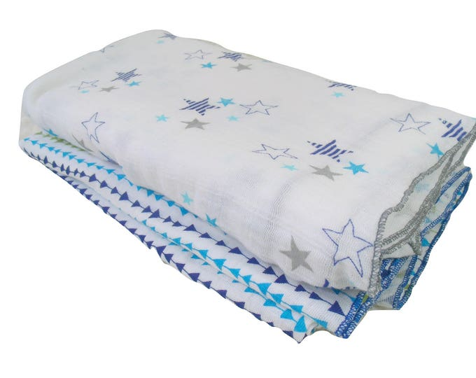 Aqua, Navy and Gray Muslin Cotton Swaddle Blankets, Lightweight Cotton Summer Baby Blanket, Gray and White Cotton Baby Blankets