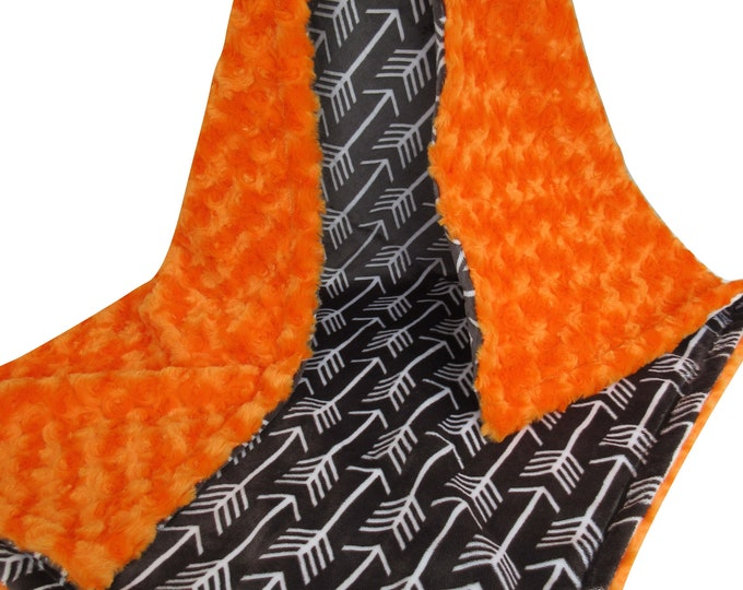 Charcoal Gray and Orange Arrow Print Minky Blanket, In Stock Ready to Ship