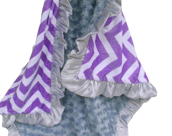 Purple Chevron and Charcoal Gray Rose Swirl Minky Baby Blanket