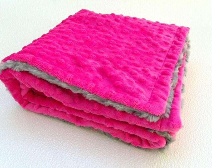 Fuchsia Hot Pink and Gray Minky Baby Blanket - Charcoal Gray Swirl