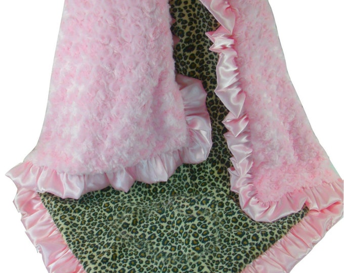 Pink Cheetah Minky Blanket Baby Blanket, Pink Minky Swirl, Satin Ruffle, Blanket, available in three sizes, Baby Girl Blanket