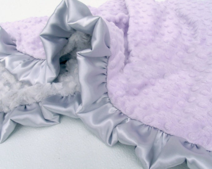 Lavender and Silver Gray Minky Baby Blanket - Silver Swirl Minky, Baby Girl Blanket