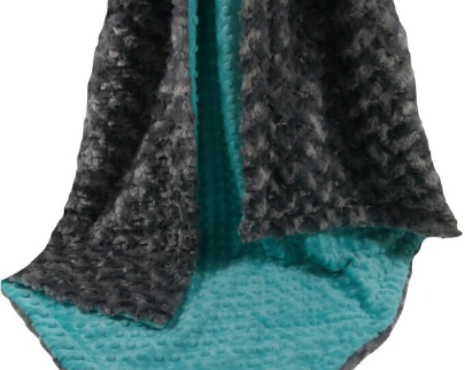 Charcoal Gray Rose Swirl With Breeze Teal Minky Dot Minky Baby Blanket, three sizes