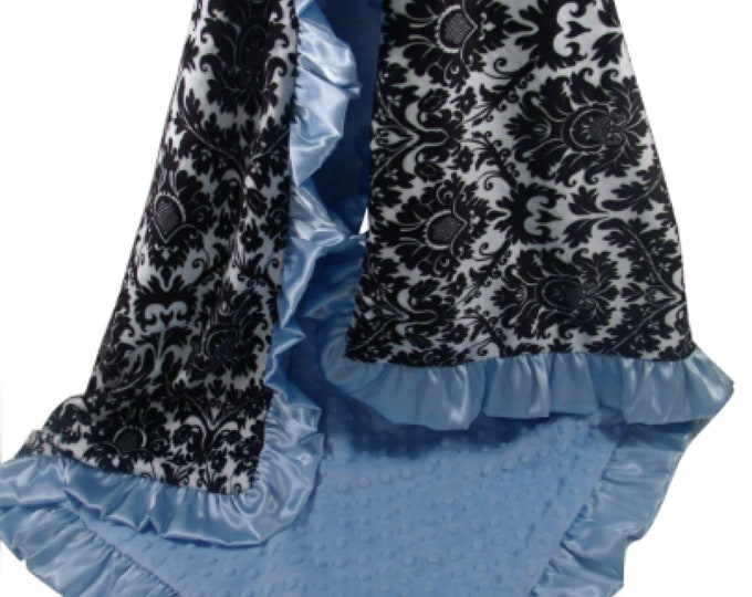 Black and White Damask Minky Baby Blanket with Blue Dot minky Back and Satin Ruffle Trim, available in three sizes