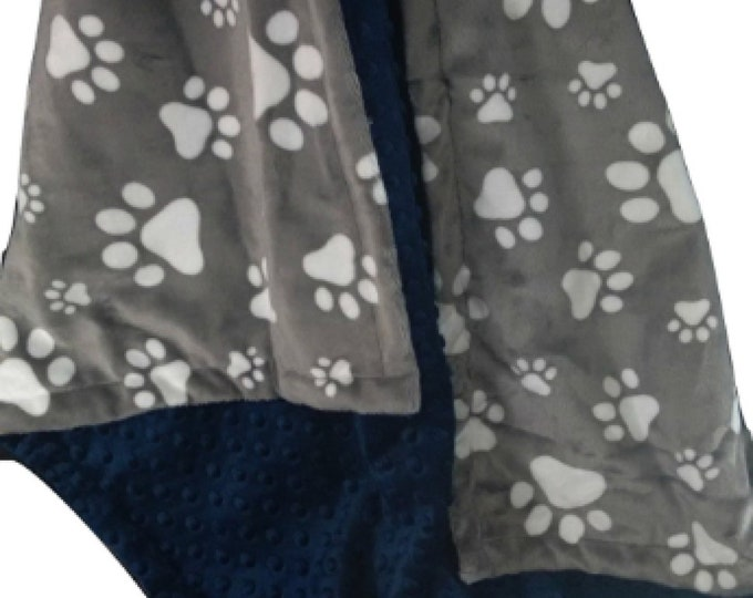 Minky Baby Blanket, Pet Blanket, Navy Dog Blanket, Paw Print Blanket, Gray Pet Blanket,