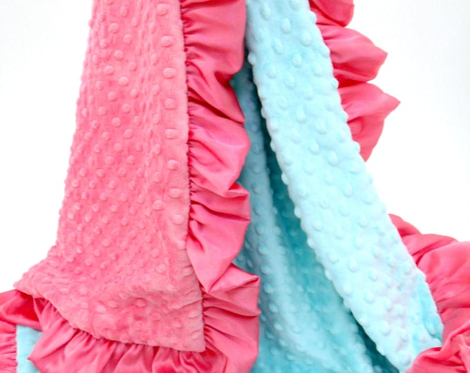 Coral and Robin's Egg Blue Baby Blanket for Girl, Baby Girl Blanket