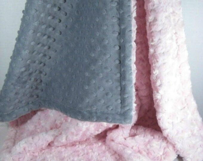 Light Pink and Gray Minky Dot Baby Blanket, Charcoal Gray and Pink Minky Dot baby Blanket, Pink Rose Swirl Baby Blanket,, Baby Girl Blanket