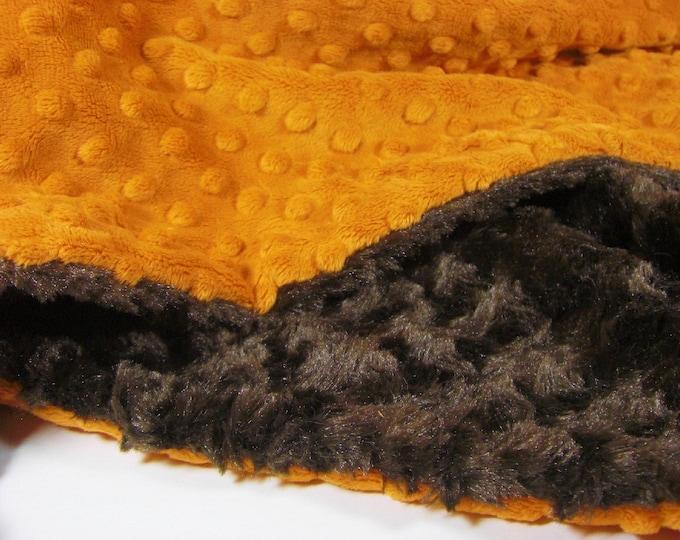 Burnt Orange and Brown Minky Plush Swirl Minky Baby Blanket
