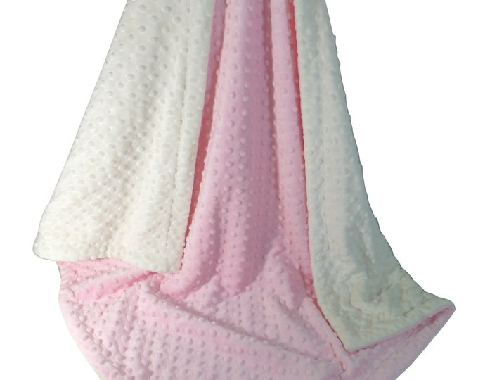 Pink Minky Dot Baby Blanket, Pink and Cream Minky Baby Blanket