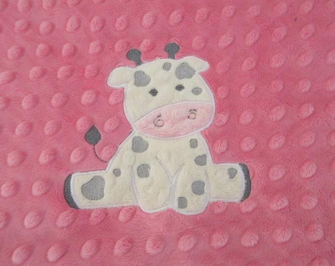 Applique Hot Pink and Gray Rosebud Swirl Minky Minky Baby Blanket, Baby Girl Blanket