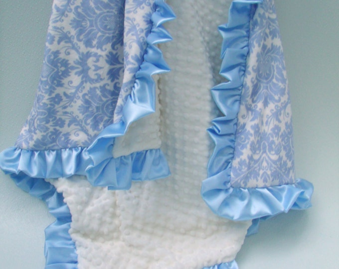 Blue Damask and Cream Satin Ruffle Minky Baby Blanket